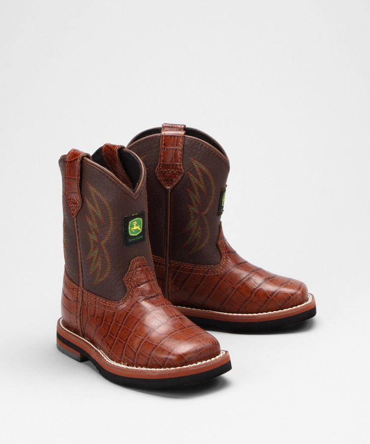 $36.99 @Zulily So CUTE!! John Deere Toddler Tobacco Croc Cowboy Boot