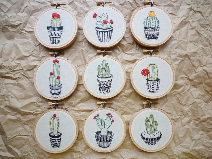 3 inch Hoop Art 'Cactus 7' Modern Embroidery by Cheese Before Bedtime | Felt