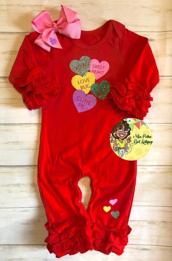 e1da265b9baf Baby Girl Ruffle Romper Red Conversation Hearts Valentines Day Ruffle Romper