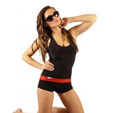 Damen Badeanzug mit Bein Schwimmanzug Hotpants Schwimmerrücken Schwarz SK0021