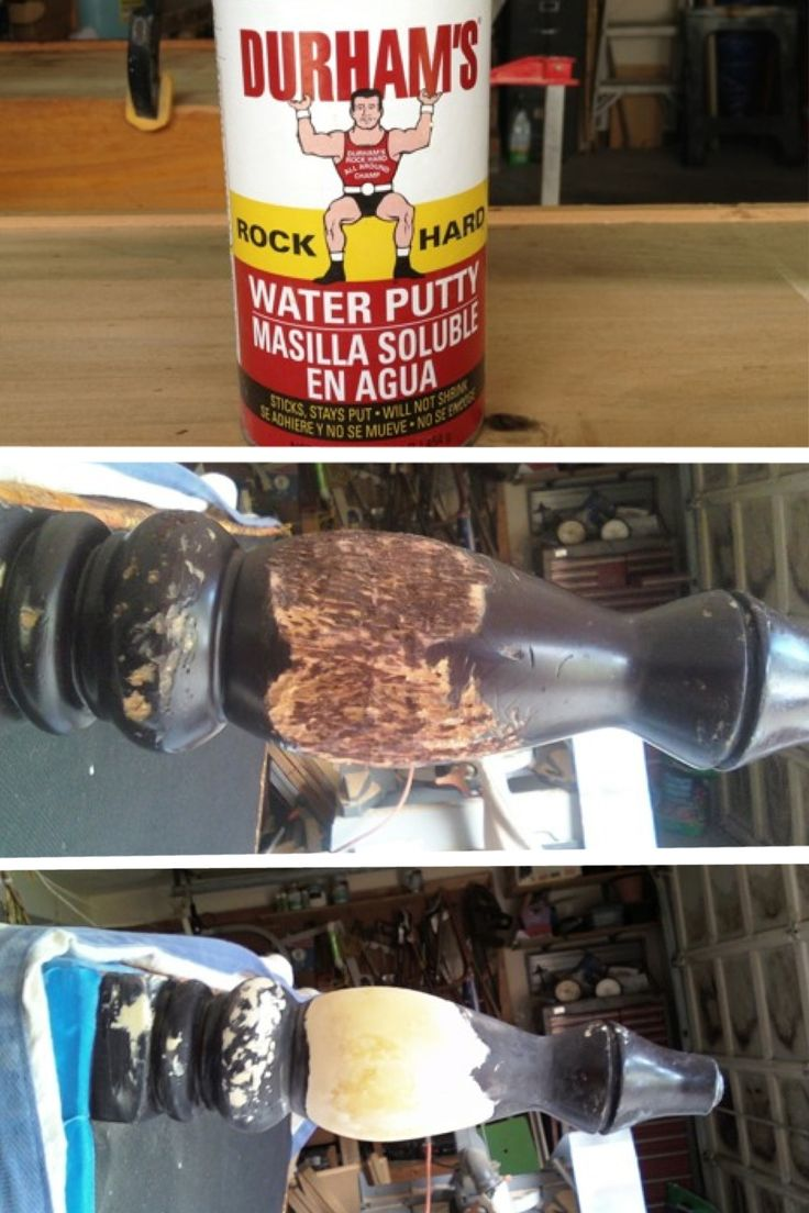 For you folks who buy old furniture then paint it…..you really must try this stuff….only a couple of bucks for a 16 oz. can. You mix it (powder) with water to the consistency that you need for your repair. I made mine a little thicker, stuck a few brads, with heads on them, in to the leg (for grip), then molded the leg. I use it instead of wood putty for smaller jobs. It sands beautifully and lasts forever, as you only mix what you need for each job.