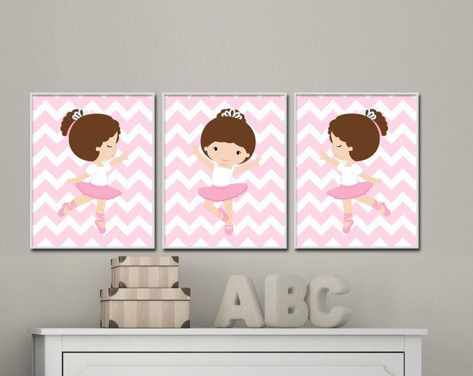 Bebé niña de cuarto de niños de la pared arte. Bailarina infantil grabados. Trajes de bebé niña rosa vivero y decoración del dormitorio. Colores personalizados - S-213