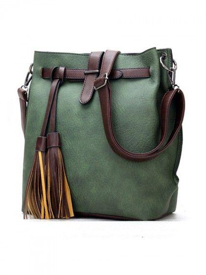 Color Block Long Tassel Shoulder Bag  | WithChic