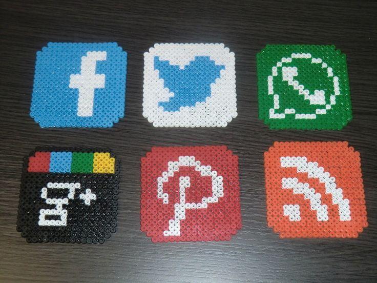 Social networks coaster set hama beads by MC & AD