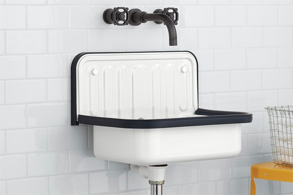 At 13 inches deep, the tough glazed-steel Alape Bucket Sink from Rejuvenation has a shallower profile, by about half, than most utility sinks, making it ideal for small baths and mudrooms where space might be on the tight side. We were also taken with its vintage looks.