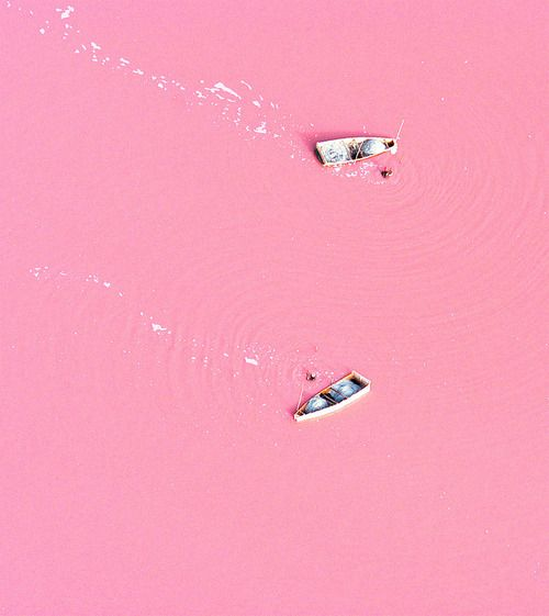 The pink color comes from microorganisms called Dunaliella salina, which thrive in the extremely salty lake. The red pigment is D. salina's version of chlorophyll, allowing the organisms to collect energy from the sun. All of this is natural, if visually insane. Sometimes nature is easily as crazy-looking as human-made pollution.