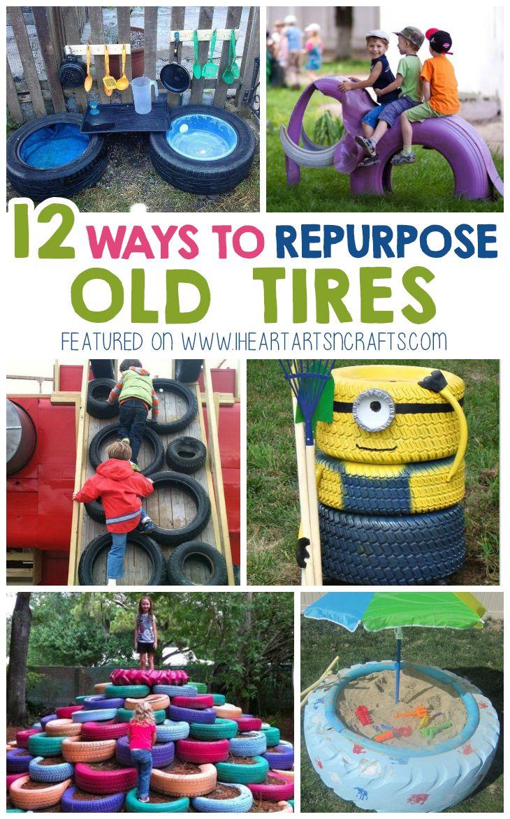 12 Creative Ways To Repurpose Old Tires Tyre Ideas For Kids Backyard Play Backyard Playground