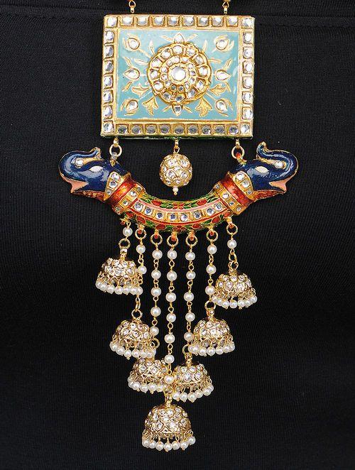 Cyan Kundan and Meenakari Necklace with Pearls
