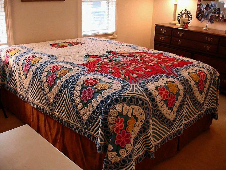 vintage peacock bedspreads vintage cotton chenille 2 peacock bedspread double queen size. Black Bedroom Furniture Sets. Home Design Ideas
