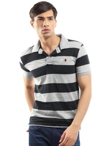 Louis Philippe-Mens Short Sleeves Slim Fit Polo Neck Grey & Black Striper T-Shirt        MRP : Rs.1,099      Our price : RS. 899      18% off      You save : Rs.200      (Price are included of all taxes.)