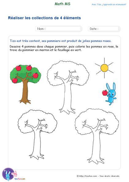 Exercice Maths MS Réaliser une collection de 3 à 5 éléments, l'enfant doit construire et évaluer lui-même les collections d'objets. Fiche Maternelle PDF.