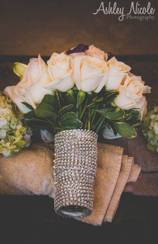 Traditional Autumn Wedding Details- Bridal bouquet with blush roses wrapped with crystals