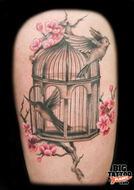 bird cage tattoo with cherry blossoms