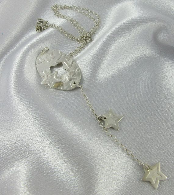 Sterling Silver Handmade Falling Stars Necklace by LayaliJewelry on etsy or at LayaliJewelry.com