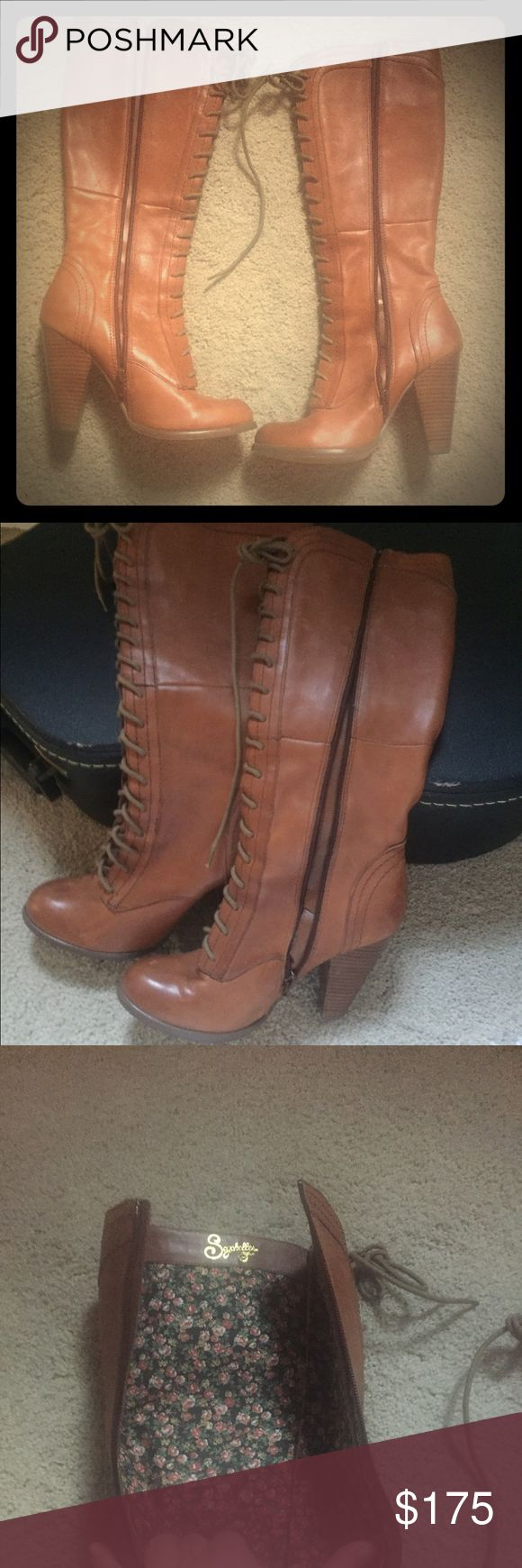 Seychelles, tall, brown boots Size 8.5 Seychelles boots.  I've only worn these once so in excellent condition.  They are light brown and lace up the front.  They also zip up the sides. Seychelles Shoes Lace Up Boots