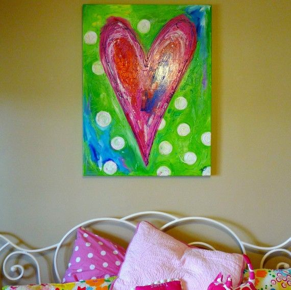 Whimsical heart painting for girls room www.befreetees.com