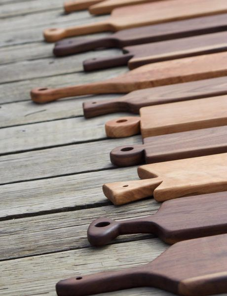 Schooner Lane collection Wooden Serving Boards available in several shapes, handle types and three (3) wood options.