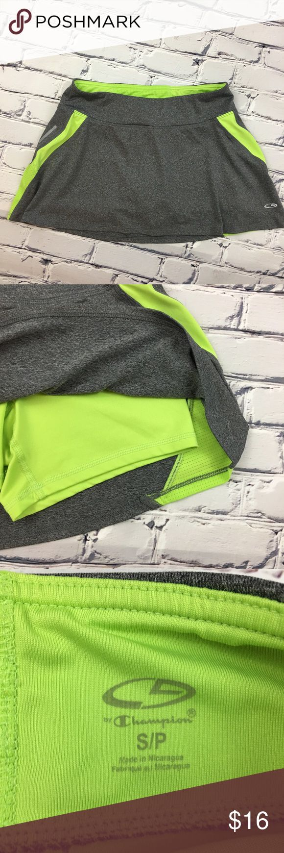 C9 by Champion Running/Tennis Skirt C9 by Champion Running/Tennis Skirt in Gray with Citron Green accent colors and compression shorts.  Pre-owned, excellent condition.  💚Size: Small/Petite C9 by Champion Skirts