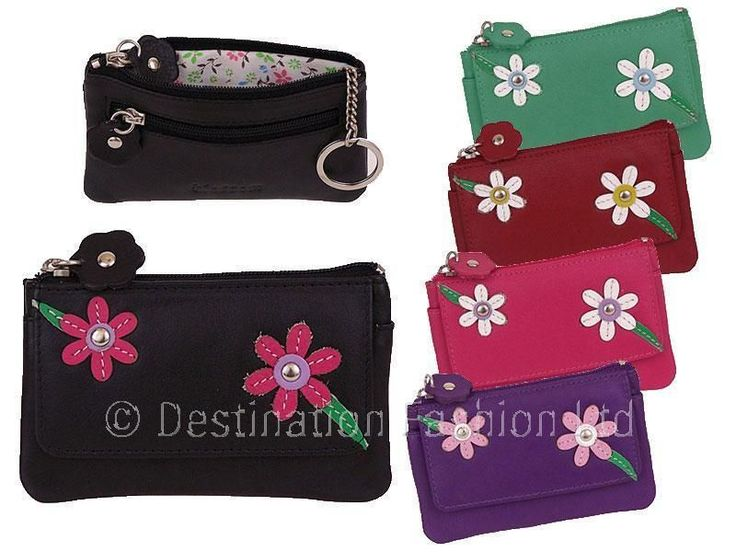 * Mala Leather Blossom Ladies Zip Coin Purse Holder Wallet Women'S Keyring