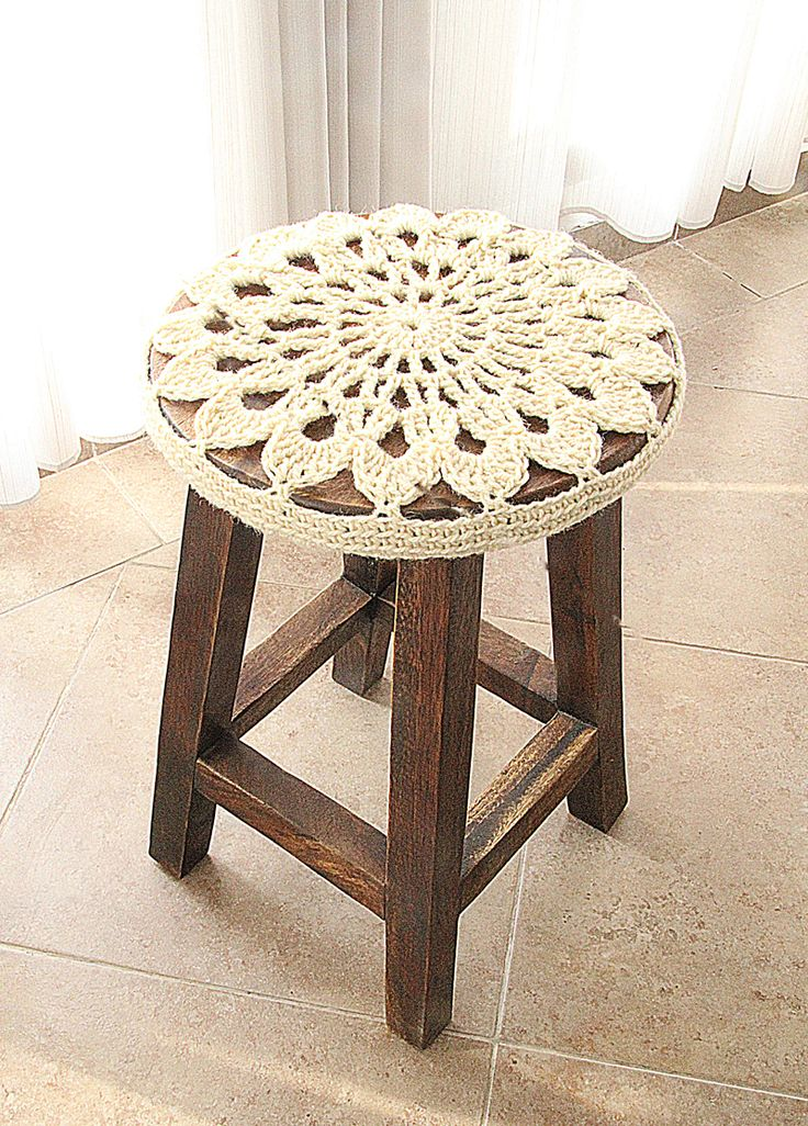 Crocheted Doily Stool Cover Side View & 106 best Crochet Stool Covers images on Pinterest | Stool covers ... islam-shia.org