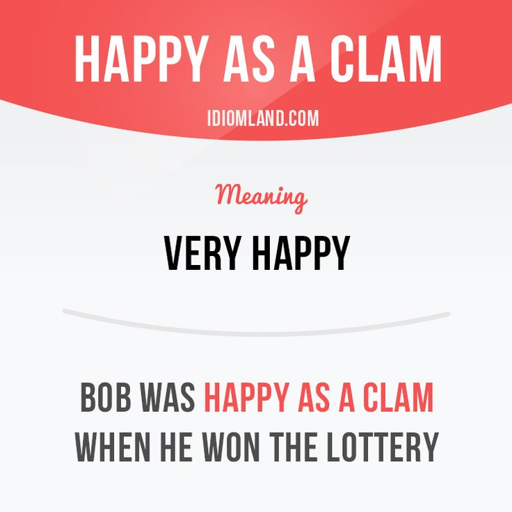 """Happy as a clam"" means very happy.  Example: Bob was happy as a clam when he…"