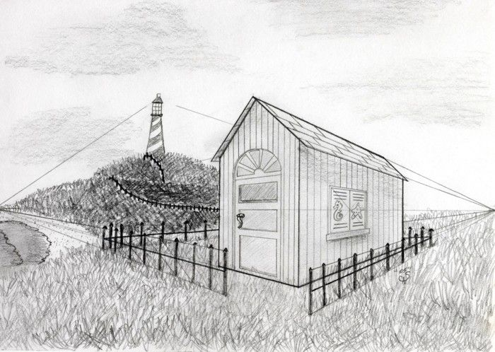 Two point perspective drawing google search granny for Exterior 1 point perspective