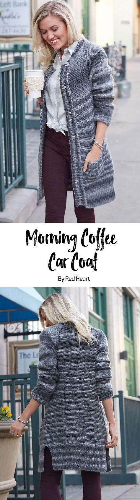 Morning Coffee Car Coat padrão de malha livre em fio inesquecível.