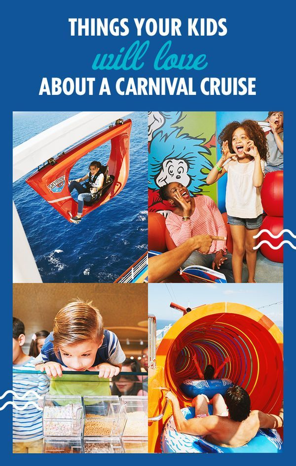 From Waterworks to Skyride to delicious dining options, there are plenty of reasons your family will love a Carnival Cruise. Not convinced? Just visit Carnival.com.