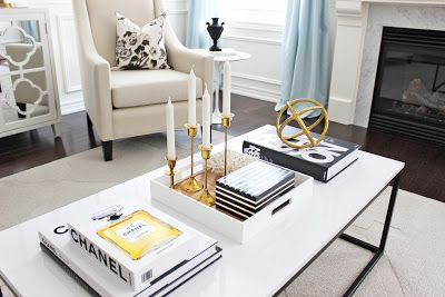 Coffee table styling, black white gold coffee table styling, Chanel coffee table books, brass candlesticks, Schumacher Pyne Hollyhock pillow