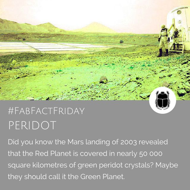 Planet Peridot! Yes todays Fab Fact Friday deals with the astonishing fact that there's vast quantities of Peridot on the Red Planet - or Green Planet as we've decided to call it here at Scarab Jewellery. We ADORE peridot and use it as often as we can in our jewellery pieces. Check out our website for more...