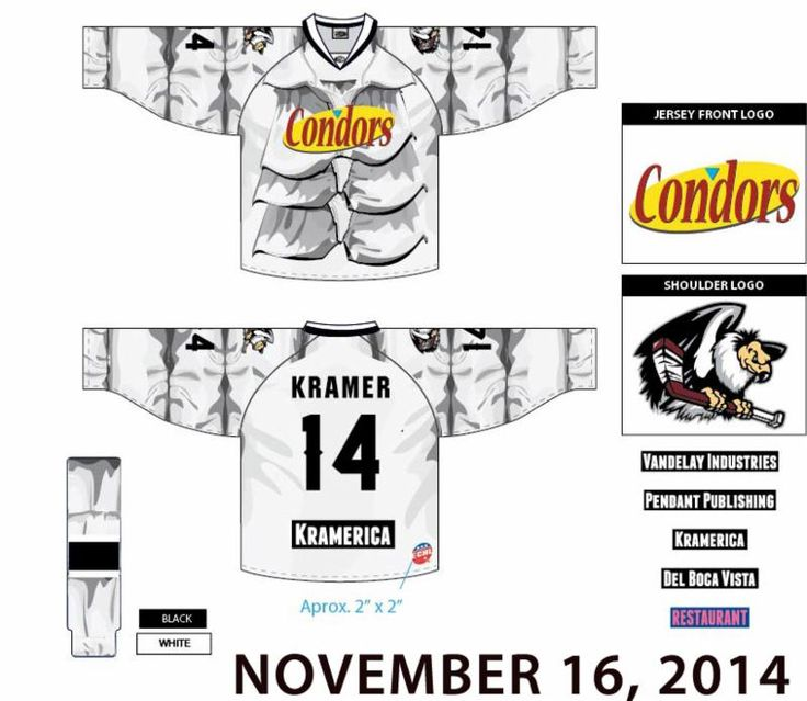 "BAKERSFIELD CONDORS SEINFELD PUFFY SHIRT JERSEYS ON ""SEINFELD NIGHT"" 11/16/14 [PROBABLY THE COOLEST MOST AWESOME THING TO HAPPEN IN HOCKEY SINCE EVER. I BET THOSE BABIES ARE GONNA BE HELLA PRICEY ON THE AFTERMARKET A.K.A. EBAY. ME STILL WANTS!]"