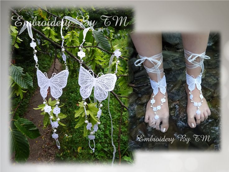 (10) Name: 'Embroidery : Barefoot sandals lace butterfly
