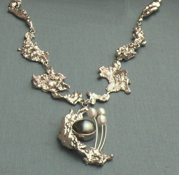 Water Cast Necklace With Mabe Pearl And Fresh Water Pearls
