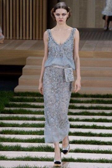 Vestito cielo Chanel - Abito cielo con marsupio della collezione Chanel haute couture primavera/estate 2016