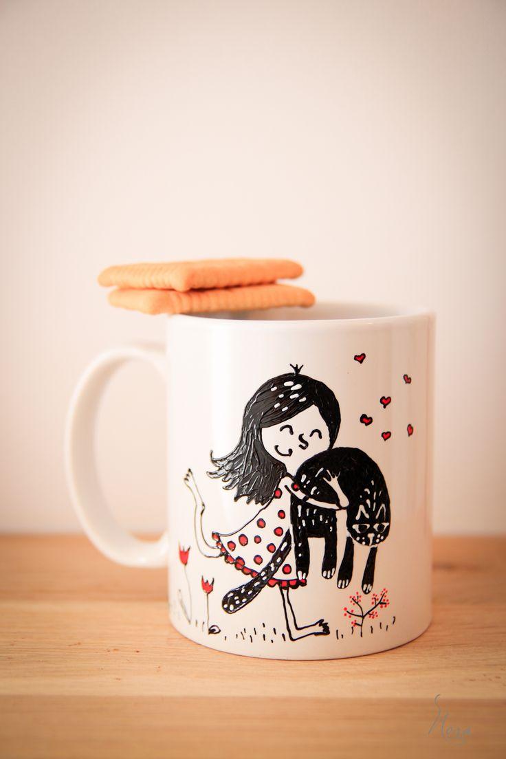 Painted mug... Girl with black cat