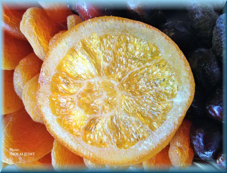 Dry winter fruits, peach, orange