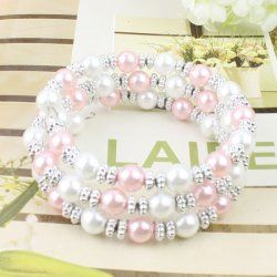 Rose + blanc perle bracelet coutures