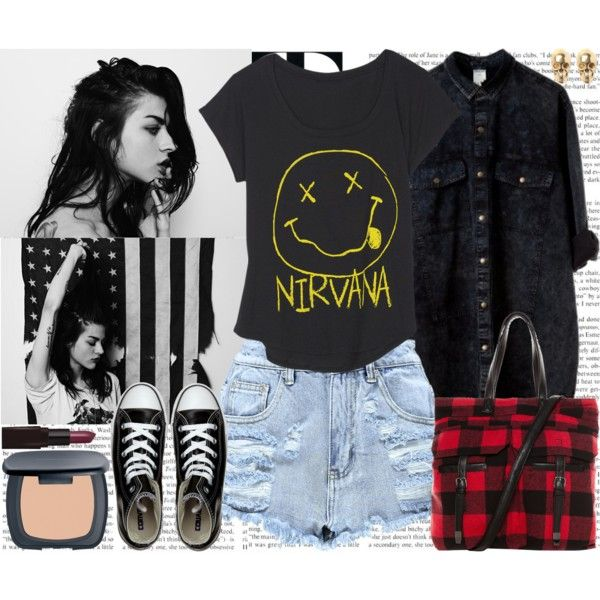 Frances Bean Cobain by mariaalovett on Polyvore featuring moda, Monki, Boohoo, Converse, Pull&Bear, LeiVanKash, Bare Escentuals, Laura Mercier and Hedi Slimane