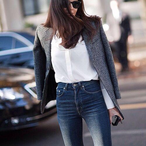 tweed blazer, white button-down, high-waist jeans