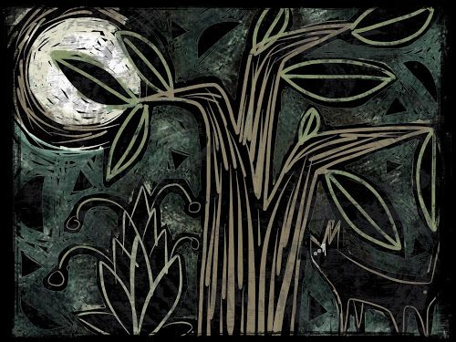 The Old Cells Studio - Michèle Brown Art: Moon Fox - iPad sketch for a linocut