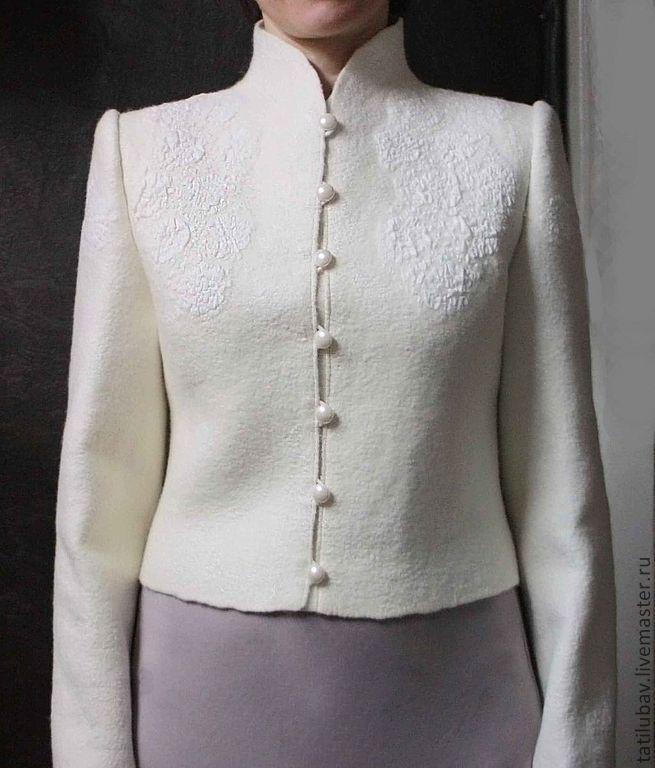 Купить Жакет валяный Белая мелодия - белый, жакет, jacket, валяный жакет, куртка