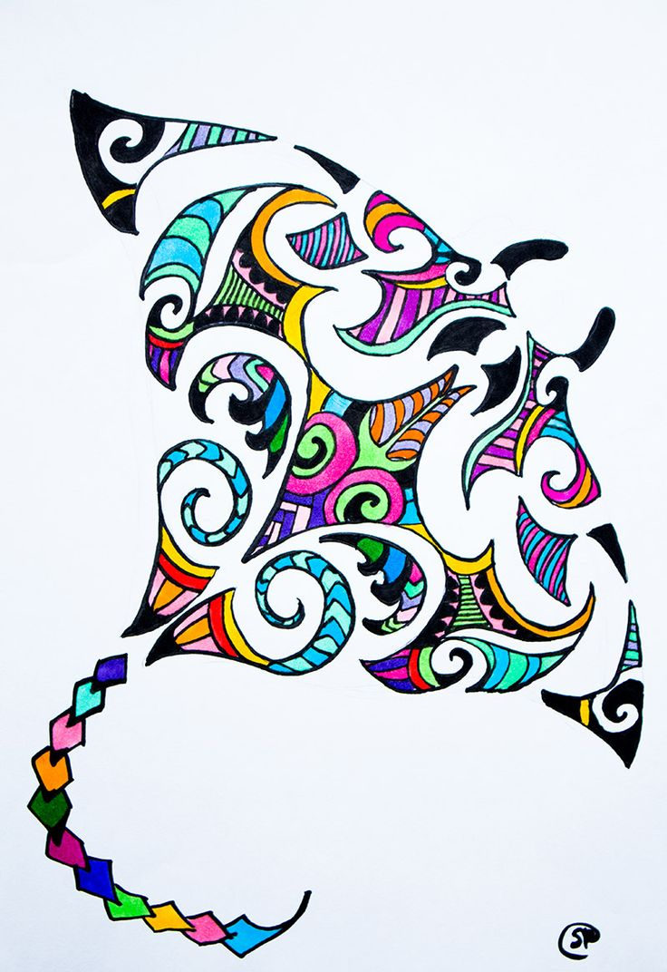 Maori Design Stingray Colorful stingray drawing available for purchase on etsy! made by savyraskeyart
