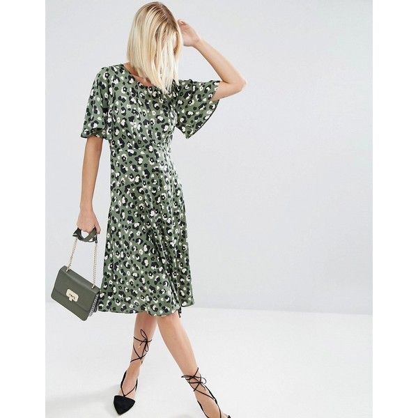 ASOS Midi Tea Dress in Animal Print (250 HKD) ❤ liked on Polyvore featuring dresses, keyhole back dress, asos, mid calf dresses, tall dresses and button dress