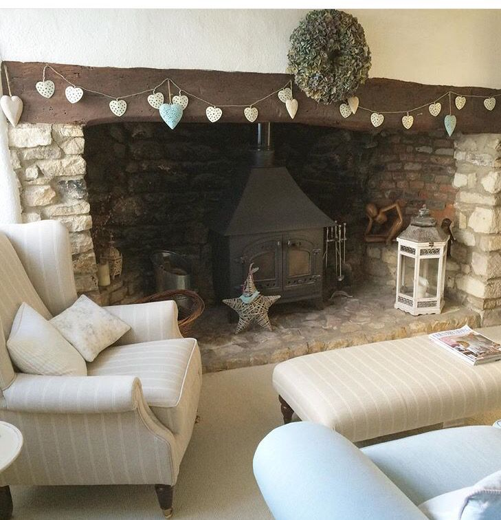 Love this inglenook fireplace with wood burner. Cosy country living room. If you like this, why not head on over to http://www.TheHomeDesignSchool.com/signup for more modern country design inspiration, plus get FREE access to our home design resource library.