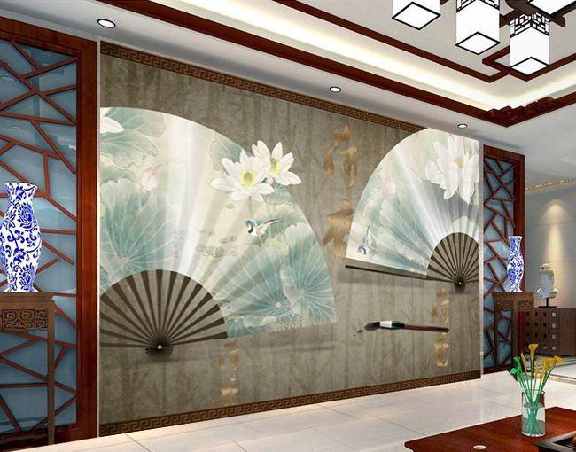 papier peint asiatique esprit zen effet 3d les lotus sur l 39 ventail en soie avec les bambous. Black Bedroom Furniture Sets. Home Design Ideas
