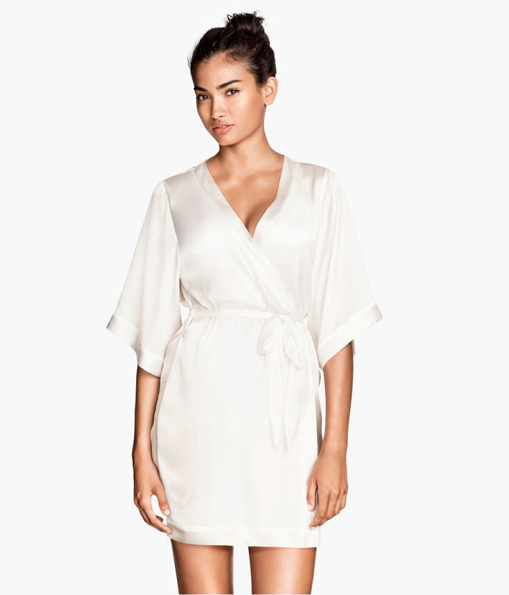 Airy White Satin Kimono Robe With Concealed Waist Tie
