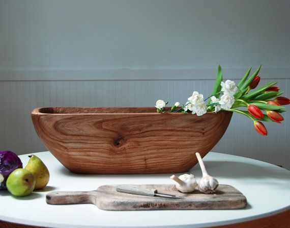 Farmhouse Bowl Wooden Bowl Rustic Catalpa Hand Carved Large