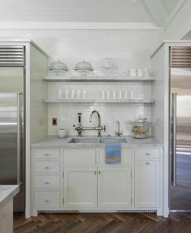 open shelves white kitchen marble counters