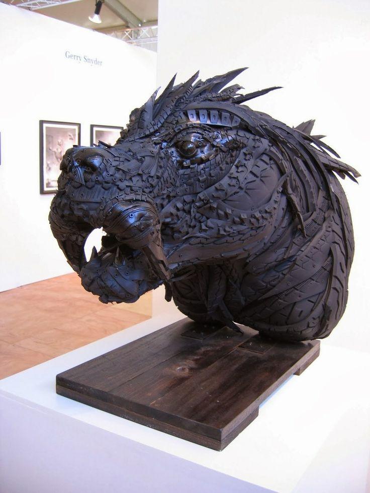Yong Ho Ji: increibles esculturas a base de neumáticos reciclados