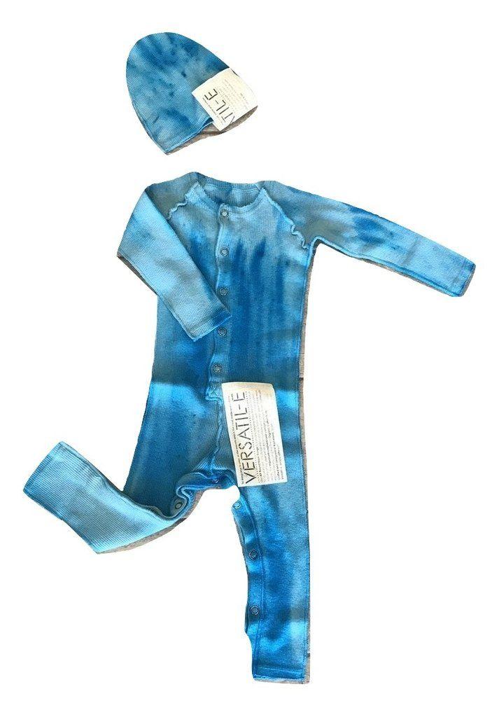 Versatile Textura Azul Ribbed Onesie with Beanie – Panda and Cub